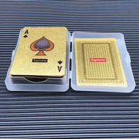 Wholesale toys play resale online - Toy FW s gold poker Fashion logo luxury gold color playing cards sup