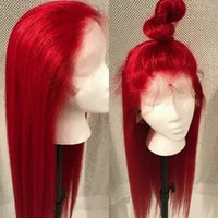 Wholesale light red lace front wigs for sale - Group buy Red Silky Straight Brazilian Virgin Human Hair Full Lace Wig Pre Plucked With Baby Hair Density Lace Front Wig Bleached Knots