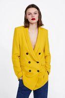 ingrosso giacca gialla delle signore-European Fashion Women giallo abito lungo cappotto scollo a V doppio petto giacca blazer Office Lady Business Blazer A66