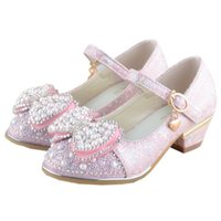 Wholesale girls pearl dress shoes for sale - Group buy Children Girls Leather Shoes Spring Autumn Glitter Dress Princess High Heels Dance Weddings Shoe Kids Butterfly Pearl Party Shoe