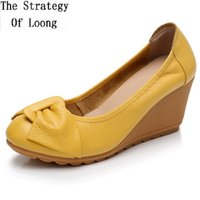 Wholesale heels butterfly spring resale online - Spring Autumn Summer Retro Genuine Leather Butterfly Bowknot High Wedges Heels Shallow Women Pumps Slip on Lady Shoes