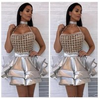 Wholesale high collar ball dresses for sale - Group buy 2019 HIgh Sliver Short Cocktail Dresses Beading Sequins Ruffles Tiered Night Club Prom Gowns Mini Evening Party Dress Vestidos De Soiree