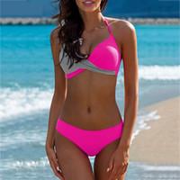 ingrosso insieme ad alta vita del bikini più il formato-2019 Bikini sexy da donna Costume da bagno a vita alta Costumi da bagno Swim Halter Push Up Bikini Set Pachwork Plus Size Costumi da bagno Beachwear