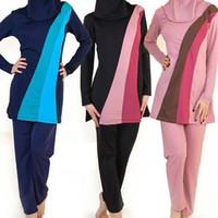 6xl plus größe badebekleidung großhandel-S-6XL Langarm moslemischer Badeanzug plus Größenbadebekleidung Frauen moslemische Badebekleidung Nylon Burkini Schwimmen maillot de bain femme musulmane