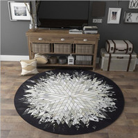 Wholesale games studies for sale – custom Free ship cowhide pattern round carpet living room bedroom study floor foot pad skid proof household home decoration baby game pad