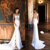 Wholesale sexy open back wedding dresses for sale - Vintage Custom Mermaid Wedding Dresses Sexy Sheer Neck Open Back Sweep Train Full Lace Beach Bridal Gowns