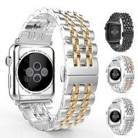ingrosso guarda la chiusura lampo-Cinturino Apple in acciaio inossidabile di lusso per cinturino Apple Watch 38mm 42mm Cinturino fibbia farfalla in acciaio inossidabile per iWatch Series 4 3 2 1
