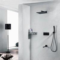controlador de flujo de agua al por mayor-Cobre Negro Ducha Faucet 250x250 Square Rainfall Shower Shower con tres manijas redondas Square Panel Controller 3 Sistema de ducha de flujo de agua