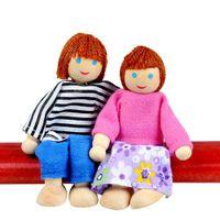 Wholesale foam figures kids resale online - 7PCS Wooden Furniture Dolls House Family Person Figures Miniature Set Doll Toys Pretend Play Dollhouse Kids Child Play Toy p5