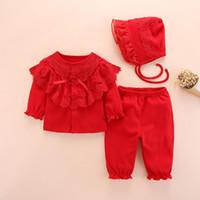 kleine mädchen tutu sets großhandel-Neugeborenes Baby Kleidung Set Mädchen Herbst Langarm Baumwolle 0-3 Monate Kleine Mädchen Kleidung Sets