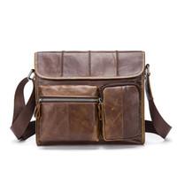 Wholesale multifunction leather shoulder bag for sale - Group buy Vintage Brand Genuine Leather Men Messenger bags Men s bagss Computer Shoulder Multifunction Brown Crossbody