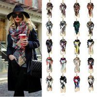 ingrosso fazzoletti per le donne-40 colori donne plaid sciarpe griglia nappa avvolgere oversize scialle di controllo invernale fazzoletto triangolo triangolo coperta sciarpa cca11218 10 pz