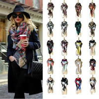 Wholesale blanket scarfs resale online - 40 Colors Women Plaid Scarves Grid Tassel Wrap Oversized Check Shawl Winter Neckerchief Lattice Triangle Blanket Scarf CCA11218