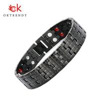 cadenas de germanio al por mayor-Oktrendy Energy Magnetic Bracelet Men Black Chain Germanium Bracelet Brazalete de acero inoxidable para hombres de las mujeres