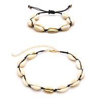 ingrosso braccialetto di corda in velluto-Handmade Summer Beach Shell Bracciale Conch Black Velvet Collana di corda Set Bohemian Necklace and Bangle Jewelry Set Female