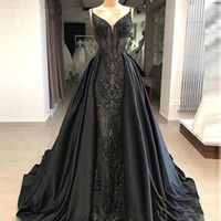 comprimento do assoalho vestido de noite de renda venda por atacado-2020 preto Spaghetti Lace Mermaid Longo Prom Vestidos de cetim sobre saias Até ao chão formal do partido Vestidos BC1471