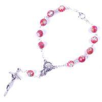 ingrosso branelli rosari rotondi-New Fashion Round Sfaccettato perline in vetro bianco rosso Madonna Catholic Decade Rosario
