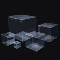 boîtes en pvc claires pour les cadeaux achat en gros de-100pcs en plastique transparent PVC boîte d'emballage pour cadeaux Boîtes / Chocolat / Bonbons / cosmétique / gâteau carré Transparent Boîte K12