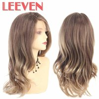 Wholesale cosplay hairstyles for women for sale - Group buy Leeven Natural Wave Wigs Synthetic Lace Front Wigs For Woman Cosplay Hairstyle Blonde Brown Bob For America Female