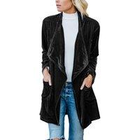casaco de veludo xl venda por atacado-jaqueta curta de lapela manga longa nova cor sólida camada única versátil retro veludo das mulheres elegantes