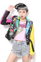 piel sintética de leopardo al por mayor-2019 Faux Leather Jackets Women Top Brand New Spring Fashion Good Quality Rivets Leopard Ladies Street mujer PU chaqueta de cuero