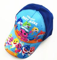 Wholesale baby baseball caps hats resale online - Baby shark Baseball Cap Kids Fashion Baseball Hats Boys Girls shark Cartoon Caps Outdoors Adjustable Sun Hat GGA2325