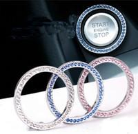 anéis de diamantes de imitação venda por atacado-Diamante Auto Start Botão Do Motor Anel de Cristal Anéis Emblema Etiqueta Do Carro Um Botão Iniciar Anel Imitação de Diamante Decorações Anel Chave GGA2445