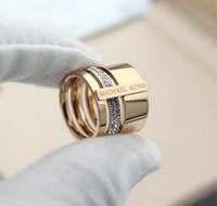 Wholesale rings m resale online - Designer Wedding Rings for Lovers Designer M K Brand colors Ring Old Flower Letter Style Engagement Ring for Women Men