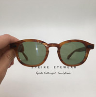 Wholesale johnny depp glasses resale online - SPEIKE Customized High quality Eyewear lem tosh Johnny Depp style flaxen blonde frame with tinted lens can be myopia reading lens UV400
