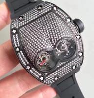 reloj de titanio para hombres al por mayor-La mejor marca de caucho negro diseño de lujo de gran tamaño para hombre reloj de pulsera diamantes titanio tornillos caso Tourbillon automático Top Grade hombres reloj de moda