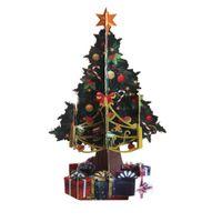 tarjeta de deseos 3d hecha a mano al por mayor-Souvenirs Deseos Tarjeta de felicitación Tarjetas Pop-Up 3D Árbol de Navidad Tarjeta postal Colorido Papel hecho a mano Tarjeta de cumpleaños Fiesta Postte