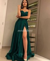 Wholesale prom dress for sale - Hunter Green Arabic Prom Dresses Sweet Heart Thigh High Slits Sweep Train Draped Long Formal Evening Party Gowns Special Occasion Dress