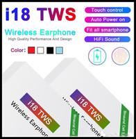 kullanılan kulaklıklar toptan satış-i18 TWS Touch5.0 kablosuz bluetooth kulaklık Otomatik Kullanma dokunun soyma ÜZERİNE pop pencere Stereo Kulaklık kulakiçi Otomatik Güç destekleyen