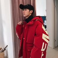 rojos parka de invierno para hombre al por mayor-Calentar invierno de los hombres abajo ropa de abrigo chaqueta floja ocasional de Harajuku para hombre Parkas abrigos con capucha Imprimir masculino rojo rompevientos más vendido
