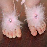 decoraciones de pies de bebé al por mayor-Pies 1-36M bebés flor de la pluma perla descalzo flor el primer caminante niña de colores Decoración de accesorios multi para Elegir
