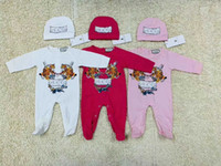 Wholesale newborn rompers for girls resale online - New Baby Boy Girl Rompers Jumpsuit Long Sleeved Infant Jumpsuit Hat Outfit Kids Newborn Baby Clothes for