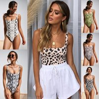 ba6302d96a3d 2019 novo conjunto de biquíni sexy impressão de leopardo swimsuit mulheres  cobra padrão de banho maiô de alta perna swimwear feminino sexy bodysuit  monokini ...