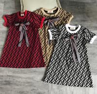 kızlar elbiseler f toptan satış-Kız Elbise F Mektup Baskılı Elbise Yaz Kısa Kollu Plaj Etekler O-Boyun Bebek Papyon Elbise Çocuk Giyim GGA1934
