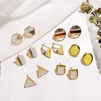 Wholesale square metal studs for sale - Metal Gold Color Colorful Stitching Resign Stud Earring Marble Pattern Round Circle Oval Triangle Square Geometric Earring