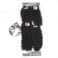 Wholesale afro synthetic curly hair weave online - 8 inch Afro Kinky Curly Jerry curl Hair Bundles Synthetic Weave Sew in Hair Extensions Natural Black J Color a Pack