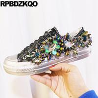 zapatos de lona con brillo negro de las mujeres al por mayor-Luxury Black Flats Plataforma de cuentas transpirables con lentejuelas Glitter zapatillas de deporte de las mujeres zapatos de lona retro Lace Up Crystal Creepers Entrenadores