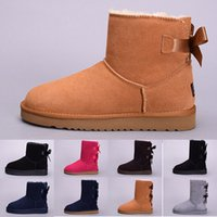 Wholesale black knee high canvas shoes resale online - winter Australia Classic snow Boots High Quality WGG tall boots real leather Bailey Bowknot women s bailey bow Knee Boots shoes size