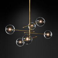 ingrosso lampadari a bolle di luce-lampadario moderno in vetro a 6 luci Lampadario a 6 luci in vetro trasparente per soggiorno cucina nero / oro