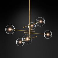 kabarcık cam topu avizeci toptan satış-Modern tasarım cam top avize 6 kafaları temizle cam kabarcık lamba avize oturma odası mutfak için siyah / altın ışık fikstür