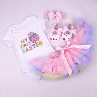 ropa de bebé dhl al por mayor-DHL 2019 Baby girl Trajes de huevo de Pascua Tutu Mi primer vestido de Pascua Body + falda + zapatos Tutu + Diadema 4pcs / set Hotsale