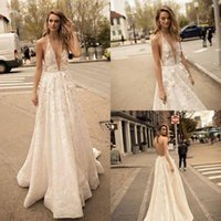 Wholesale bling sexy wedding dresses for sale - Group buy 2019 Berta Designer Boho Beach Wedding Dresses Deep V Neck Bling Sequins Beading Sexy Backless Bridal Gowns