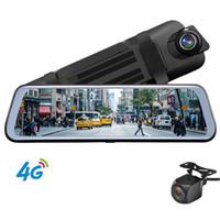 espejo retrovisor dvr bluetooth al por mayor-4G ADAS Coche DVR 10 pulgadas Android Wifi Full Stream Media Espejo retrovisor con GPS HD 1080 P Coche Dual Lens Video Recorder