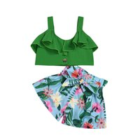 Wholesale cute outfits summer resale online - Cute Toddler Baby Girl Summer Clothes Sets Tops Floral Shorts Bow Girl Outfit