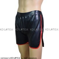 Wholesale white latex shorts for sale - Group buy Black With Red Trims Sexy Latex Boxer Shorts With Pockets Rubber Underwear Shorts Underpants Pants DK