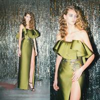 vaina de vestido de oliva al por mayor-Vaina de satén de diseño único Vestidos de baile Frente sexy Split bordado Chicas Vestidos de fiesta Vestidos de noche formales verde oliva